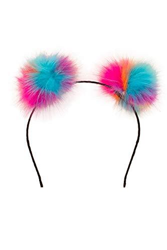 shoperama 90er Jahre Haarreif mit bunten Puscheln Raver-Buns Raverin Kostüm-Zubehör Techno Rave, Farbe:Regenbogen