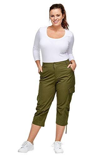 ellos Women's Plus Size Cargo Capris Pants - 16, Dark Basil