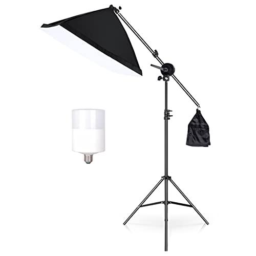 WJP 19.69x27.56in Kit De Estudio De Iluminación Continua Boom Bray Softbox para La Iluminación De Fotografía Y Fotografía Equipo De Disparo Vedio(Color:con Bombilla)