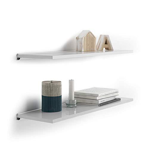 Mobili Fiver, Par de estantes 60x15 cm con Soporte de Aluminio Blanco, Blanco Brillo, Aglomerado y Melamina/Aluminio, Made in Italy