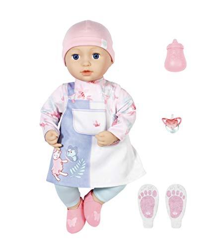 Zapf Creation 705940 Baby Annabell Mia 43 cm - weiche Puppe mit Schlafaugen mit Kleid, Leggings, Mütze und Schuhe, Flasche und Schnuller