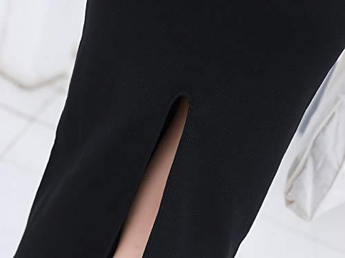 [エムティーエボコン]ペンシルスカートひざ下ロング丈セクシースリット入りレディースニットストレッチリブ素材スリム黒色フリーサイズ