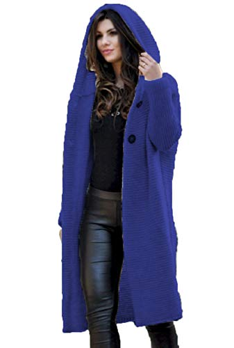 Herbst Winter Frauen Casual Loose Long Cardigan Sweater Jacke Mit Kapuze