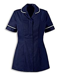 Concealed open ended zip front Two hip pockets Two chest pockets The side and back pleats provide a flattering, fitted style whilst the curved side pockets PU lined pen pockets make this a practical tunic for healthcare environments.