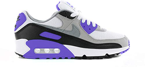 Nike W Air MAX 90, Zapatillas para Correr para Mujer, White/Particle Grey/Hyper Grape/Black, 38 EU