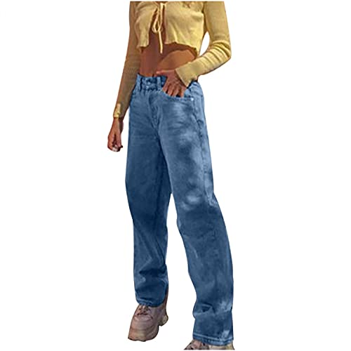 BaZhaHei Mode Damen Elastisch Hohe Taille Lose Tasche Blau Einfarbig Print Jeans Hosen Elasticity Schlaghosen Freizeithose Jogginghose Weich und Bequem Sporthose