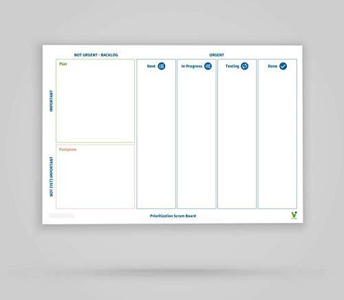 Vi-Tools - Vi-Board: Prioritization Scrum Board - Whiteboard Poster - DIN A0 - beidseitig beschreib- & abwischbar, einroll- und wiederverwendbar; inklusive umfassenden Starter Kit