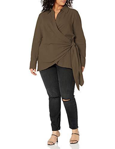 Forever 21 Damen Surplice Wrap Top Hemd, olivgrün, 1X