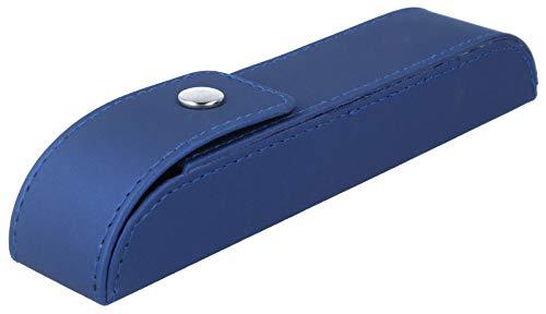 Elegante funda para gafas con funda de alta calidad y cierre de botón a presión en color azul.
