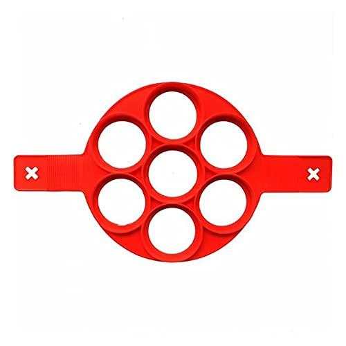 Trays Silikon-Omelett-7-Loch-Silikon-Kuchen-Form rotes Silikon-Backwerkzeug Runder Eier-Sandwich (2 stücke)