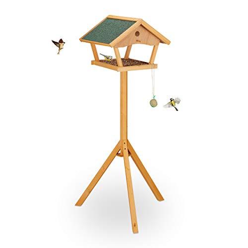 Relaxdays Vogelfutterhaus mit Ständer, groß, wetterfestes Dach, Garten, Holz Vogelhaus HBT 137 x 66 x 59 cm, Natur/grün
