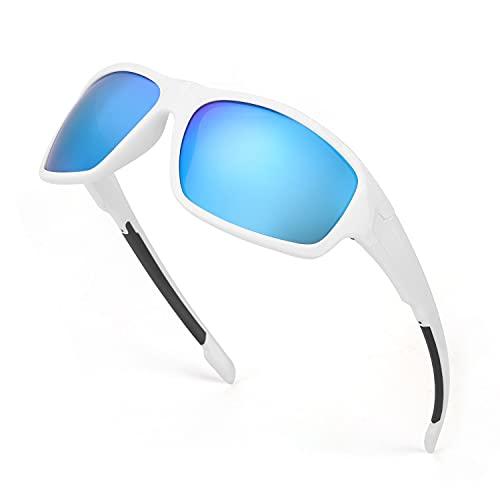TJUTR Gafas de sol polarizadas deportivas para hombres y mujeres Ciclismo Correr Moda Espejo Lente Protección UV400 (Marco Blanco/Lente de Espejo Azul)