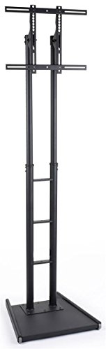 Displays2go Flat Panel TV Stands with Height Adjustable Bracket and Wheels – Black (MBFFACESTBK)