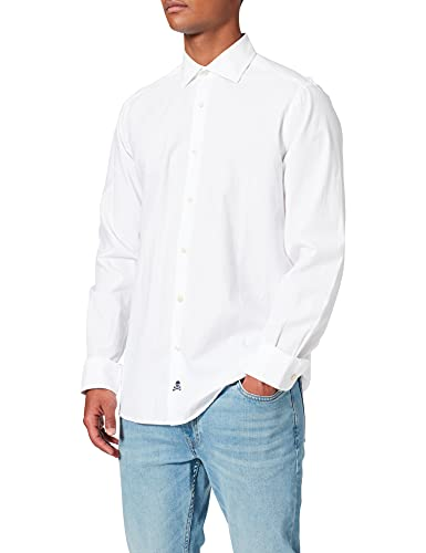Scalpers Eton K Shirt Camisa Casual, Blanco (White White), Small (Tamaño del Fabricante:40) para Hombre