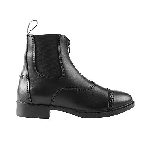 horze Wexford Reitstiefel Synthetische Paddock Stiefel mit Reißverschluss für Kinder, Schwarz, alle Größen, Schwarz, 35