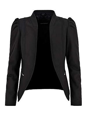 Ladies Puff Sleeves Jacket Real Leather Matt Black Front Open Blazer Jacket 5370 (12 US)