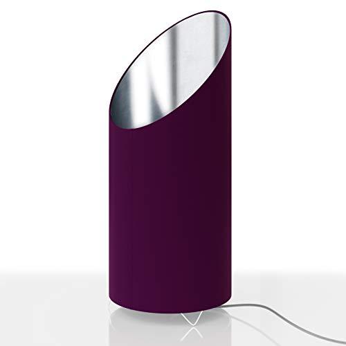 Deuba Designlampe Tischlampe Flammeneffekt 44cm Beere/Silber Nachttischlampe Tischleuchte Schreibtischlampe Design Lampe