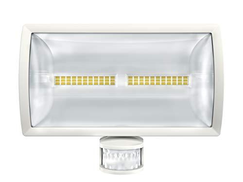 Theben 1020915 - LED-Strahler mit Bewegungsmelder für Wandmontage, Erfassungsbereich 180°, max. 12 m, weiß, IP 55 (theLeda E30 WH)