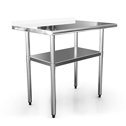 Stainless Steel Table Commercial Prep Table 36x24 Inches Kitchen Workbench Industrial Restaurant Supply Work Tables for Shop Home Outdoor Steel Table Food Preparation 1 12 Backsplash