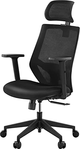 Tribesigns Office Chair, T18 Ergonomic Desk Chair with back Support,High Back Desk Chair with Breathable Mesh, Thick Seat Cushion, Adjustable Armrest, Backrest and Headrest,black