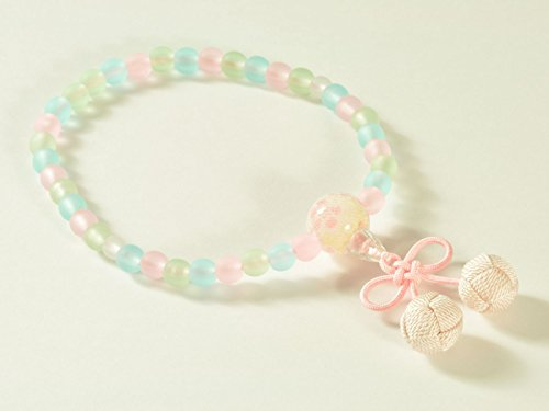 亀屋 数珠 子供用数珠(じゅず) 女の子用 ミックス仕立て さくらんぼ房 薄ピンク【日本製】398