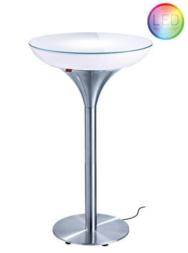 Moree Table de bar Lounge M 105 Outdoor - Avec éclairage led multicolore + télécommande