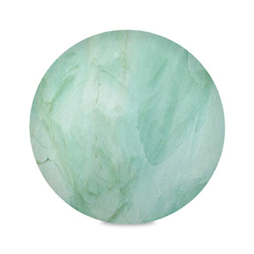 ATTX Green Marble Pattern Round Placemats for Dining Table, Circle Placemats, Place Mats for Kitchen Table Set for 6