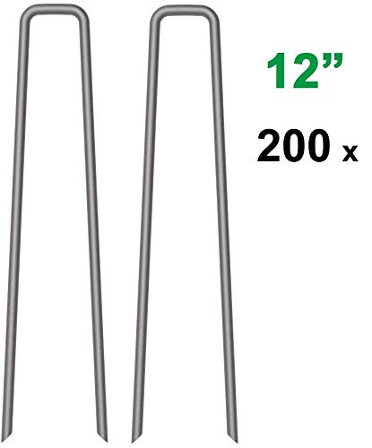 MySit 200-Pack 12-inch Garden Stakes Lawn Ground Staples 11 Gauge Galvanized Steel Securing Tent Pegs Pins for Garden Weed Fabric Landscape Fabric Netting Ground Sheets GardenStake_W12_200_US …