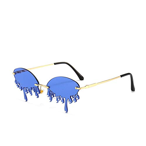 Diamond Dripping Frame Rimless Sunglasses/Eyewear for Women Luxury Party Accessories with Teardrop Shape Rhinestone