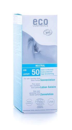 eco cosmetics eco Sonnenlotion neutral LSF50+, wasserfest, vegan, ohne Mikroplastik, Naturkosmetik für Gesicht und Körper, 1 x 100 ml
