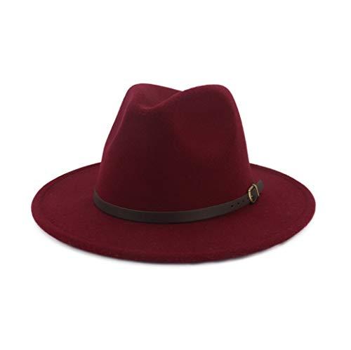 No branded Cap Hombres Mujeres Sombrero Fedora de Lana con Cinturón Pop Lady Hat Sombrero Adulto Panama Jazz Retro Sombrero de ala Ancha Talla 56-58CM Tocado (Color : Vino Rojo, Size : 56-58)