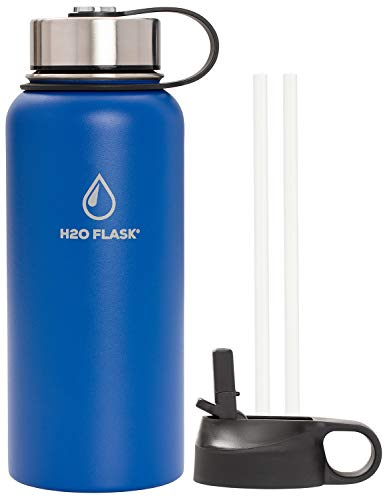 SilverOnyx Water Flask - Vacuum Insulated, Stainless Steel Bottle, Double Wall, Wide Mouth, Leak-Proof, Straw Lid and Flex Cap, Multiple Colors and Sizes, Flask Keeps Liquids Hot & Cold - Blue 32oz