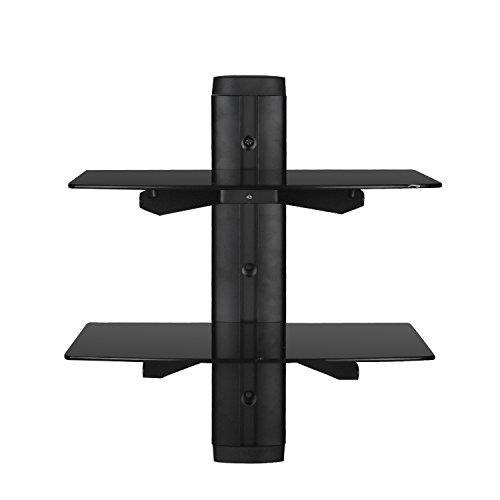 SevenFanS 2-Tier DVD Floating Glass Wall Mount Shelf, DVD DVR Component Shelf- Strengthened Tempered Glass Shelf for DVD Player/AV Receiver/TV Accessories, Black Color