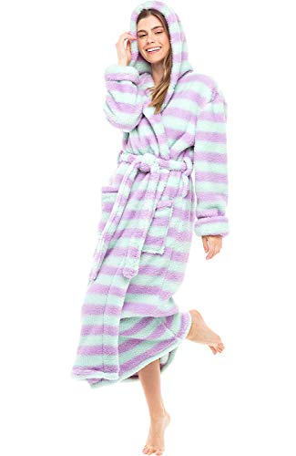 Alexander Del Rossa Women's Plush Fleece Robe with Hood, Long Warm Bathrobe, Small-Medium Purple and Green Striped (A0304P11MD)