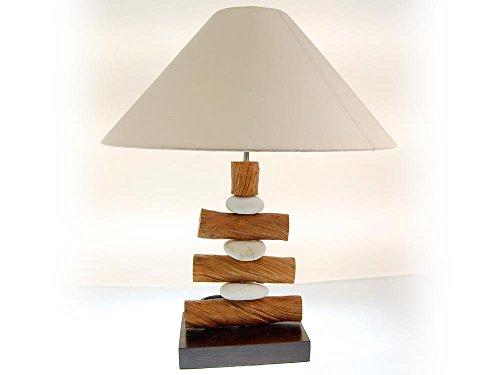 SEESTERN tafellamp fluitstenen & gelakt hout bijzetlamp 50-60 cm hoog /1648