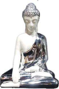 Zen'Light SB5 - Statua del Buddha in meditazione, ceramica, 15,50 x 10 x 25 cm, colore: bianco/argento