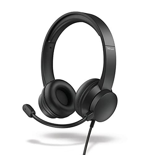 Trust Roha - Auriculares con Micrófono PC, Cómodo Suaves Almohadillas de Polipiel, Diadema Ajustable, Conexión USB, Control de Volumen en el Cable, per Oficina, Skype, Teams, Videoconferencia, Zoom