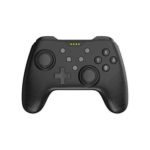 Wireless Pro Controller kompatibel mit Nintendo Switch, Switch Lite und PC, mit Amiibo/NFC-Unterstützung, Rumble Vibration, Turbo, 6-Achsen-Gyro und wiederaufladbarem Akku (Schwarz)