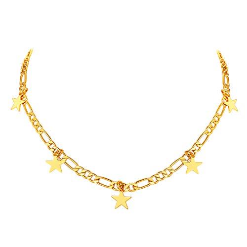 FindChic チョーカー レディース ネックレス フィガロチェーン ゴールド 18金 真鍮 星 チャーム 大人可愛い おしゃれ 綺麗 アクセサリー 女性 プレゼント