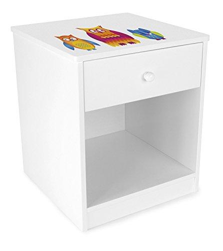Leomark Chevet avec Un Tiroir Blanc Table de Nuit casier avec 1 tiroir et 1 Niche Petite Commode de Nuit pour Enfant Hauteur 40 cm Motif Hiboux
