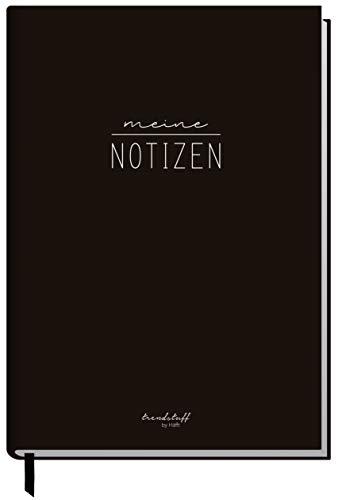 Notizbuch A5 liniert [Black Edition] von Trendstuff by Häfft | 126 Seiten, 63 Blatt | ideal als Tagebuch, Bullet Journal, Ideenbuch, Schreibheft | nachhaltig & klimaneutral