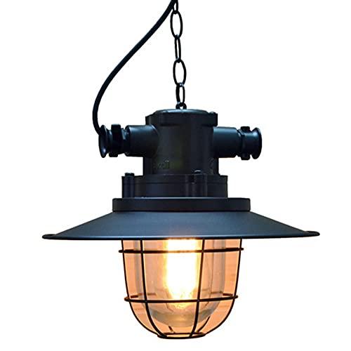 HTZ-M Candelabro de Jaula de Hierro, luz Colgante de Techo Industrial Lámpara Colgante de Hierro Forjado Retro Loft Bar Restaurante Hotel Pasillo Lámpara Colgante Negro