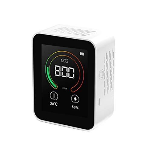 AKlamater Kohlendioxid-Co2-Detektor, Gas-Konzentration, Inhalt, Farbbildschirm, TFT-Lufttester, Luftqualitätsanalysator, Mini-USB-Lithium-Batterie (weiß)