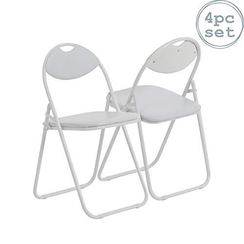 Silla de escritorio plegable - Con acolchado y estructura en blanco - Pack de 4