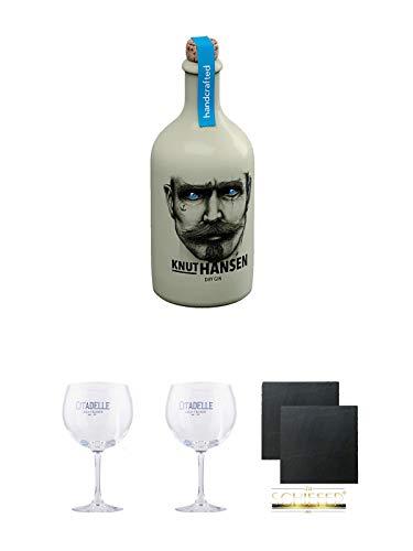 Knut Hansen Dry Gin 0,5 Liter + Citadelle Ballon GIN Glas 1 Stück + Citadelle Ballon GIN Glas 1 Stück + Schiefer Glasuntersetzer eckig ca. 9,5 cm Ø 2 Stück
