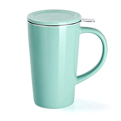 Sweese 202.109 Porcelain Tea Mug with Infuser and Lid, Ceramic Coffee Cocoa Cup Set for One, Taller and Large, 18 OZ, Mint Green