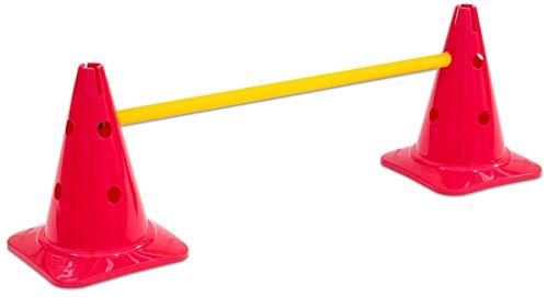 Betzold 754784 - Hürden-Set – Zwei Kegel mit Löcher inkl. Stange, für Parcours und Bewegungsspiele