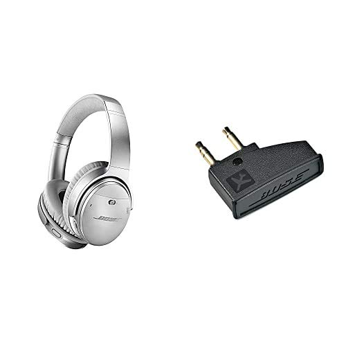 Bose QuietComfort 35 Wireless Kopfhörer II (mit Amazon Alexa), silber + Airline-Adapter für Bose QuietComfort 3