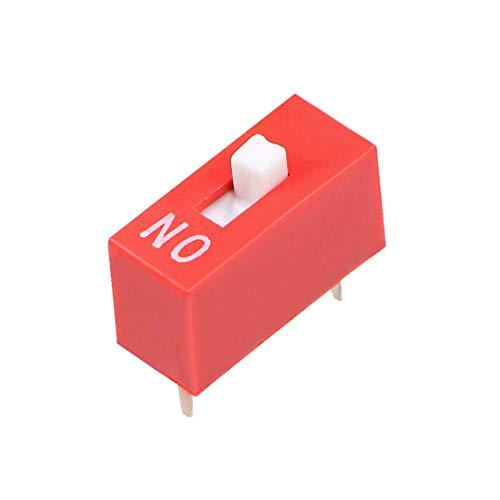 DyniLao - Interruptor DIP rojo de 50 piezas, 1 posiciones para placas de circuito impreso