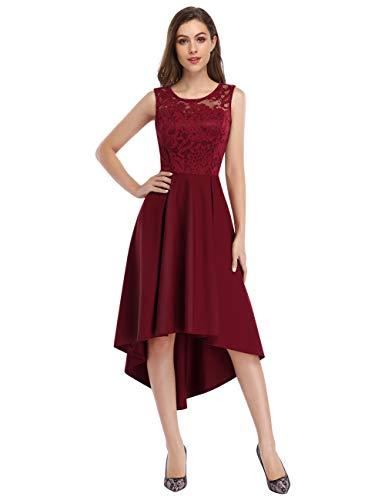 KOJOOIN Damen Abendkleider Cocktailkleid Brautjungfernkleider für Hochzeit Unregelmässiges Kurzespitzenkleid Ärmellos Bordeaux Weinrot/46,XL
